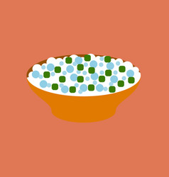 Flat on background of salad plate vector