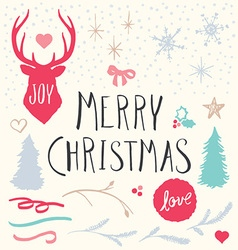 Hand Drawn Merry Christmas Elements Set vector image vector image