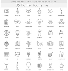 Party ultra modern outline line icons for vector image vector image