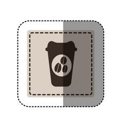 Sticker monochrome square with disposable coffee vector
