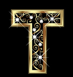 T gold letter with swirly ornaments vector image