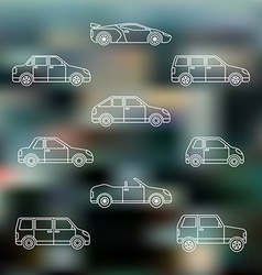white outline various body types of cars icons set vector image vector image