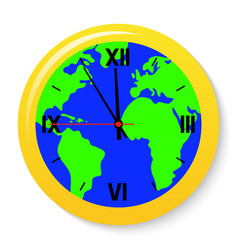 a clock with a world map on the dial vector image vector image