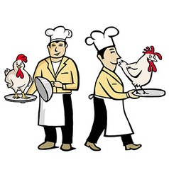 chef with chiken vector image vector image