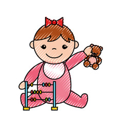 Cute girl baby with toys avatar character vector
