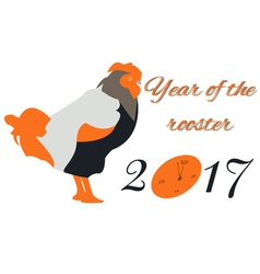 New Year card with a rooster and a clock in orange vector image
