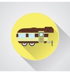 RV camping icon logo and badge Caravan button in vector image vector image