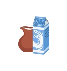 Carton And Jug Of Milk Bright Color Isolated vector image vector image