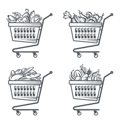 carts with sausages fruit vegetables and bakery vector image vector image