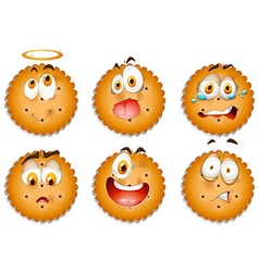 Cookies with facial expressions vector image vector image