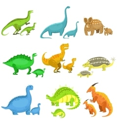 Different Dinosaurs In Pairs Of Big And Small vector image vector image