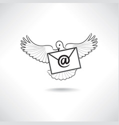 mail icon e-mail symbol with flying post dove vector image