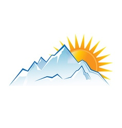 Mountains sunset logo vector image vector image