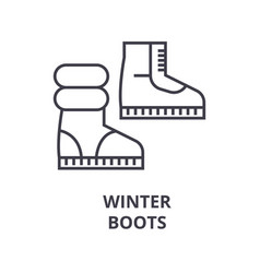 winter boots line icon outline sign linear vector image vector image