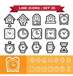 Clock line icons set 28 vector image vector image