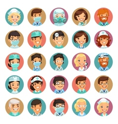 Doctors Cartoon Characters Icons Set3 vector image