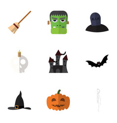 flat icon halloween set of witch cap cranium vector image
