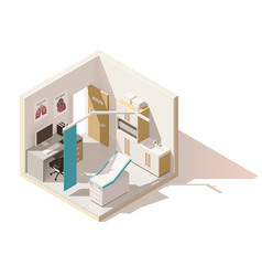 isometric low poly doctors office icon vector image vector image