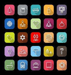 Zen society line icons with long shadow vector image vector image