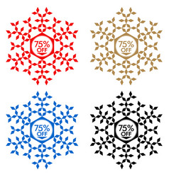 75 off discount sticker snowflake 75 off sale vector image