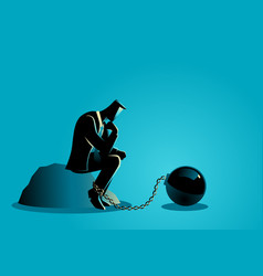 a chained businessman vector image