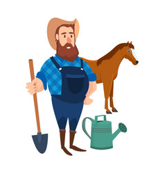 A farmer on his agricultural plot vector
