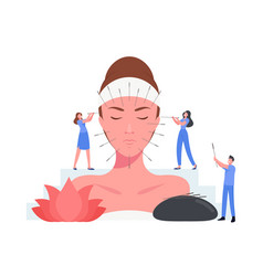 Acupuncture chinese therapy concept tiny vector