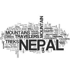 Adventure travel in nepal text word cloud concept vector