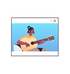 African american woman playing guitar in web vector