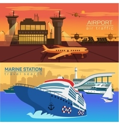 Airport planes and sea or ocean with ships vector image