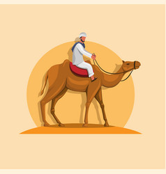 arabic man riding camel in sand middle east asian vector image