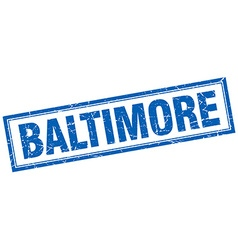 Baltimore blue square grunge stamp on white vector