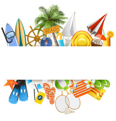 beach concept with white ribbon vector image