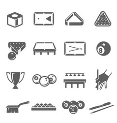 billiard cuesports icons set isolated on white vector image