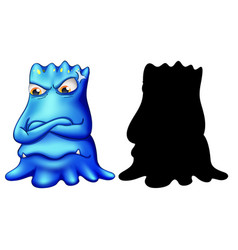 Blue monster with its silhouette on white vector
