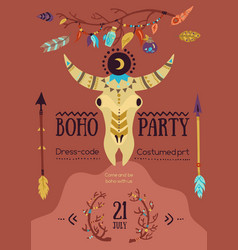 Boho party poster vector