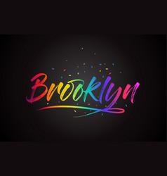 Brooklyn word text with handwritten rainbow vector