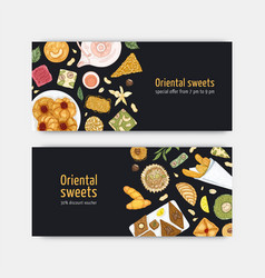 Bundle coupon or voucher templates with sweet vector