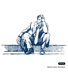 Businessman sitting on step vector image