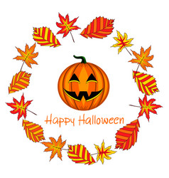 Card with halloween pumpkin and foliage vector