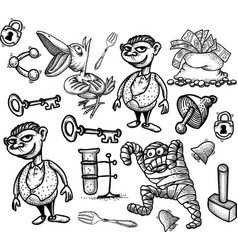 Cartoon characters seamless pattern vector