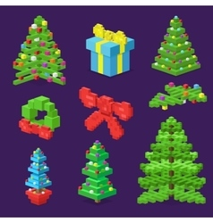 Christmas deoration symbold 3d isometric flat vector image