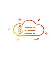 cloud dollar money icon design vector image