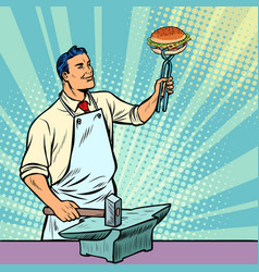 Cook blacksmith forges a burger on the anvil vector
