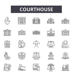 courthouse line icons signs set outline vector image