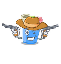 Cowboy rolled ice creams in cartoon cups vector