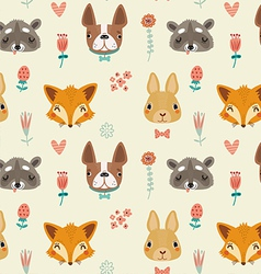 Cute seamless pattern with animals and flowers vector image