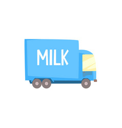 dairy milk truck with milk logo delivery and vector image