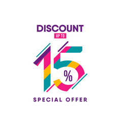 Discount label up to 15 special offer template vector