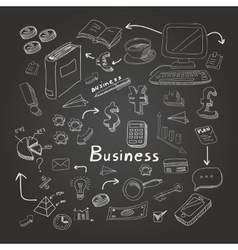 Doodle business diagrams set on blackboard vector image